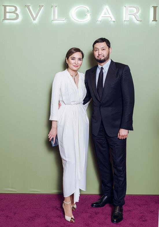 Асель Тасмагамбетова и Кенес Ракишев на вечере Bvlgari.